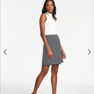 Ann Taylor petite stripe ponte skirt xsp navy